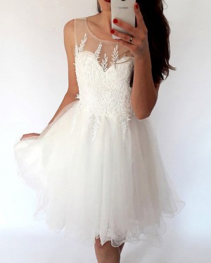 White Pleated Tulle Lace Appliqued Bodice Homecoming Dress HD3428
