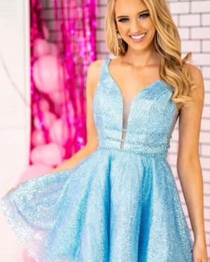 V-neck Metallic Sequin Light Blue A-line Short Formal Dress NHD3520