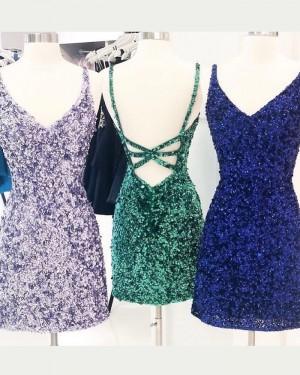 V-neck Lavender Sequin Sheath Tight Short Formal Dress NHD3521