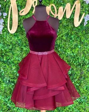 Halter Burgundy Beadings Velvet Bodice Short Formal Dress with Ruffle Skirt NHD3525