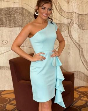 Simple One Shoulder Mint Satin Tight Short Formal Dress NHD3534
