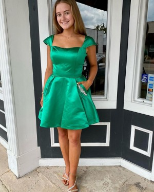 Square Neck Green Satin Cap Sleeve Short Formal Dress with Beading Pockets NHD3535