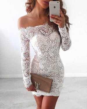 Off the Shoulder Lace White Short Formal Dress with Long Sleeves NHD3538