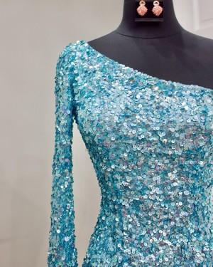 One Shoulder Gold Sequin Tight Short Formal Dress with Side Slit NHD3539