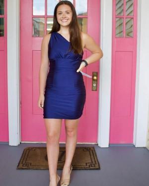 One Shoulder Navy Blue Satin Tight Short Formal Dress NHD3540
