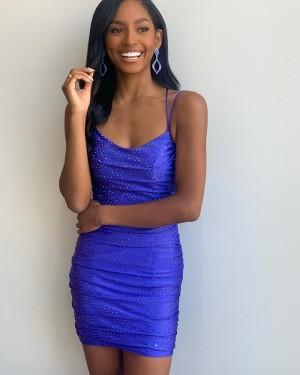 Spaghetti Straps Blue Beading Tight Short Formal Dress NHD3550