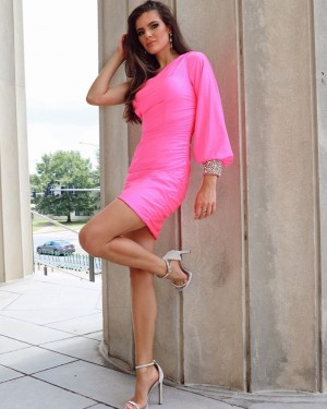 One Shoulder Fuchsia Satin Tight Short Formal Dress with Beading Long Sleeves NHD3551