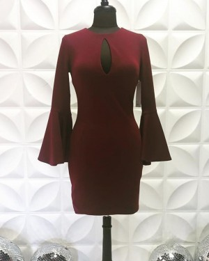 Jewel Neck Cutout Satin Burgundy Tight Short Formal Dress with Bell Sleeves NHD3557