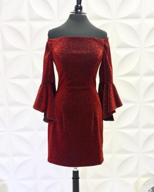 Burgundy Off the Shoulder Metallic Tight Short Formal Dress with Bell Sleeves NHD3558