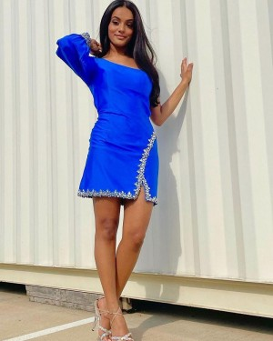 One Shoulder Blue Beading Tight Short Formal Dress with Long Sleeves HD3598