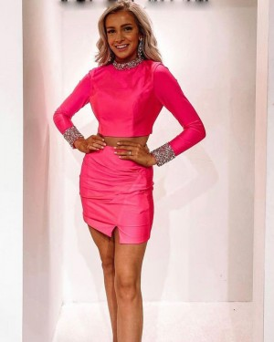 High Neck Fuchsia Two Piece Beading Tight Short Formal Dress with Long Sleeves HD3599