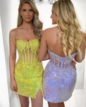 Strapless Lavender Beading Applique Tight Short Formal Dress with Side Slit HD3600