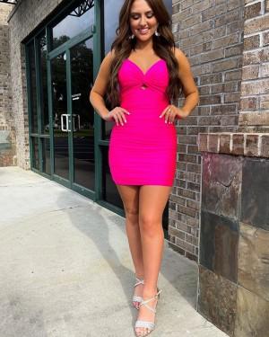 Spaghetti Straps Rose Red Cutout Tight Short Formal Dress HD3601