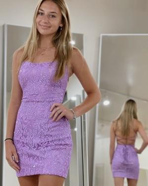 Spaghetti Straps Lavender Sequin Lace Tight Short Formal Dress HD3607