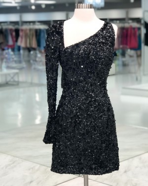 Asymmetric Sequin Black Tight Short Formal Dress with Long Sleeves HD3609