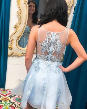 V-neck Lace Applique Tulle Light Blue Short Formal Dress HD3615