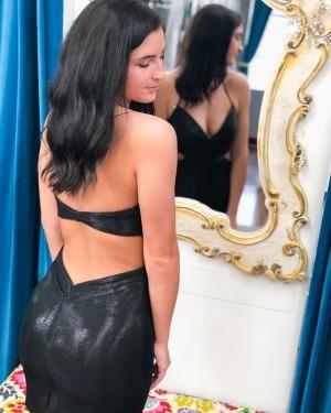 Spaghetti Straps Ruched Black Tight Short Formal Dress HD3616
