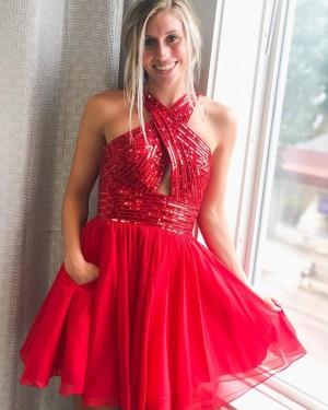 Criss-cross Red Sequin Bodice Short Formal Dress with Chiffon Skirt HD3617
