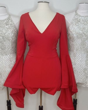 V-neck Red Satin Tight Short Formal Dress with Long Bell Sleeves HD3620