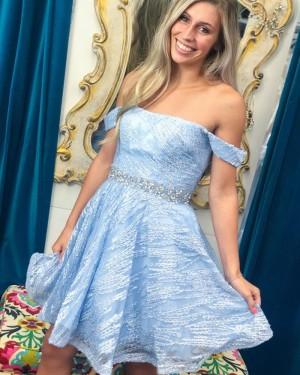 Off the Shoulder Light Blue Sequin A-line Short Formal Dress HD3623