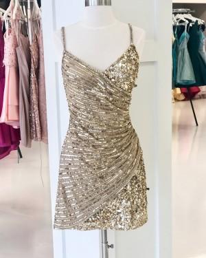 Spaghetti Straps Gold Sparkle Beading Tight Short Formal Dress HD3626