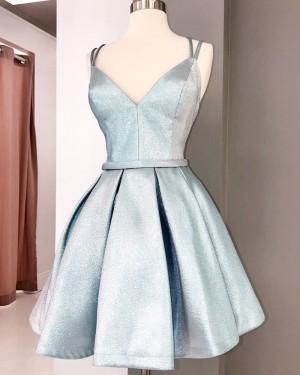 Spaghetti Straps Silver Pleated Short Formal Dress HD3627