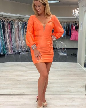 V-neck Orange Tight Satin Short Formal Dress with Beading Long Sleeves HD3629