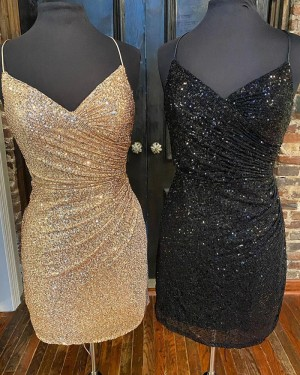 Spaghetti Straps Gold Sequin Ruched Tight Short Formal Dress HD3633