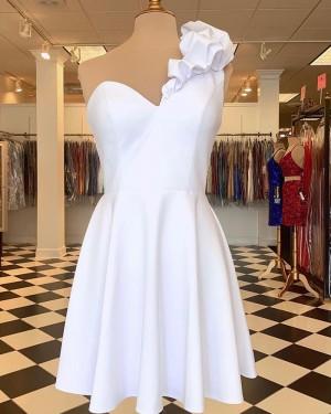 One Shoulder White Chiffon Short Formal Dress HD3637