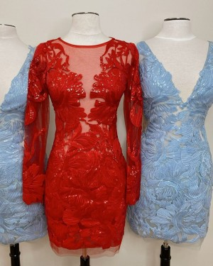 Jewel Neckline Sequin Lace Red Tight Short Formal Dress with Long Sleeves HD3640