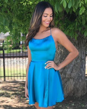 Spaghetti Straps Satin Blue Simple Homecoming Dress HDQ3429