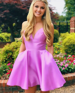Simple Light Purple V-neck Homecoming Dress with Pockets HDQ3437