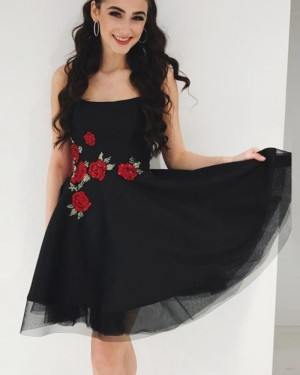 Elegant Tulle Square Black Homecoming Dress with Appliqued Flowers HDQ3439