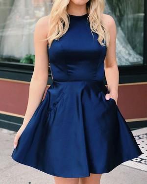 Halter Neckline Satin Navy Blue Short Formal Dress with Pockets HDQ3440