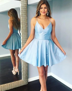 Simple Light Blue Spaghetti Straps Satin Homecoming Dress HDQ3441