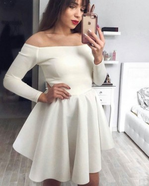 Satin Off the Shoulder Ivory Homecoming Dress with Long Sleeves HDQ3444