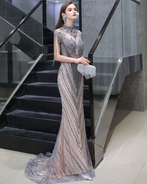 High Neck Beading Grey & Champagne Mermaid Evening Dress with Tassel Cap Sleeves HG118442