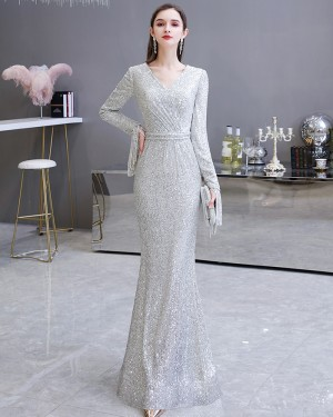 Silver Sequin Mermaid Evening Dress with Long Sleeves HG24441