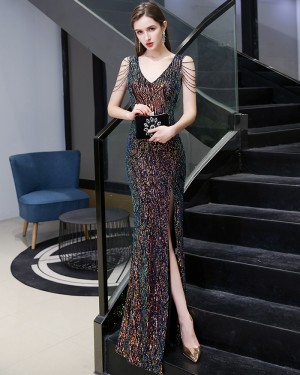 V-neck Colored Sequin Mermaid Style Evening Dress with Beading Sleeves HG24444