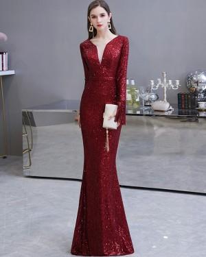 Burgundy Sequin Mermaid Long Sleeve Evening Dress HG24446