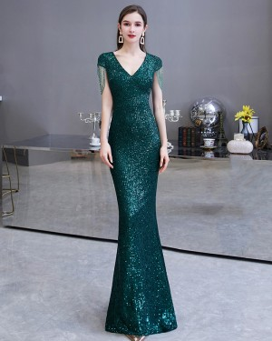 V-neck Sequin Green Mermaid Style Evening Dress with Tassels Cap Sleeves HG24451