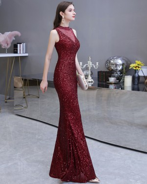 Sequin High Neck Burgundy Mermaid Evening Dress HG24452