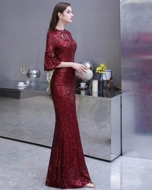 High Neck Burgundy Cutout Sequin Evening Dress with Short Bell Sleeves HG24453