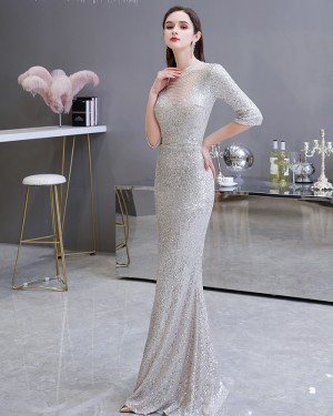 High Neck Mermaid Silver Sequin Evening Dress with Half Length Sleeves HG26454