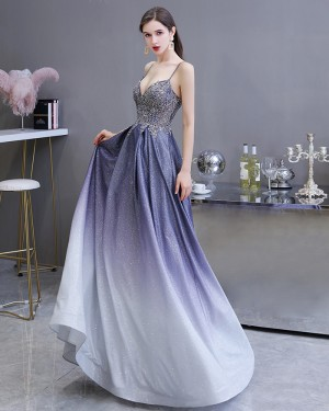Starry Sky Satin Ombre Spaghetti Straps A-line Evening Dress with Pockets HG39450