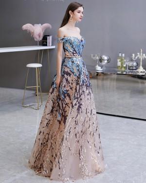 Elegant Floral Sequin Off the Shoulder Lace Evening Dress HG45449