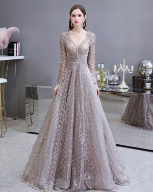V-neck Lace Sparkle Sequin Evening Dress with Long Sleeves HG69448