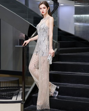 Jewel Beading Sequin Grey & Champagne Jumpsuit HG73445