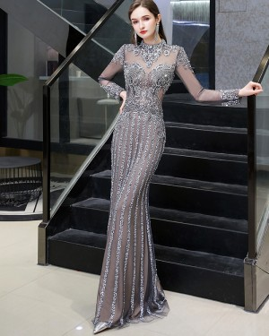 Beading High Neck Grey Evening Dress with Long Sleeves HG86443