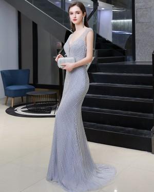 V-neck Beading Silver Mermaid Style Evening Dress HG92446